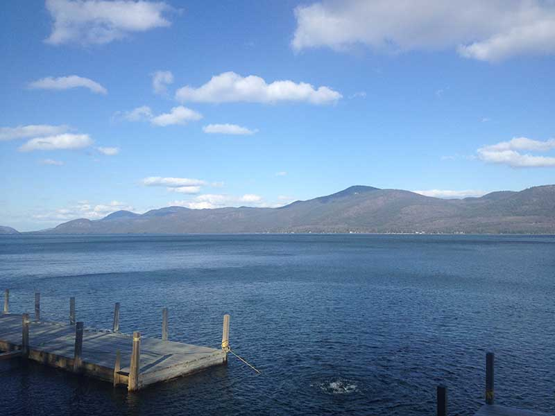 View of a dock on Lake George from Bolton landing