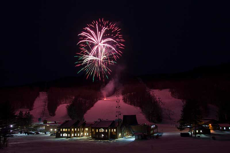 Fireworks over Gore Mountain in North Creek