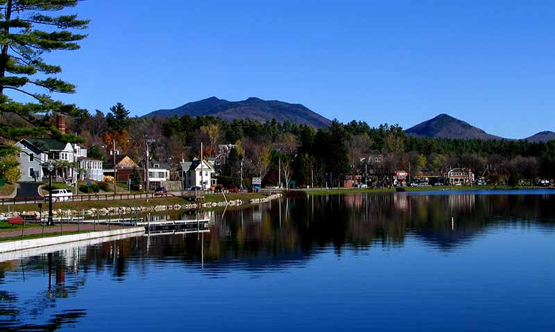McKenzie and Haystack Mountain as seen from Lake Flower in Saranac Lake NY
