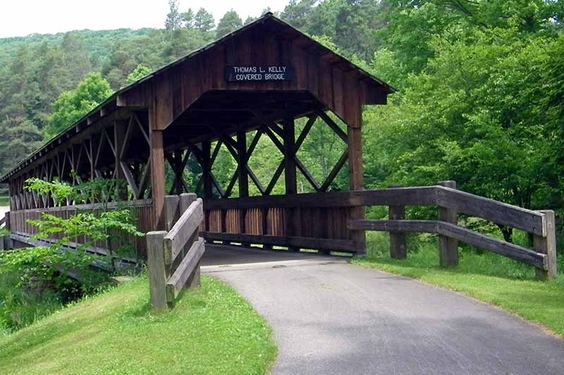 Covered bridge in Allegany State Park in New York