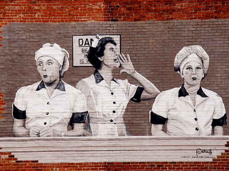 Mural on brick of famous I Love Lucy factory scene