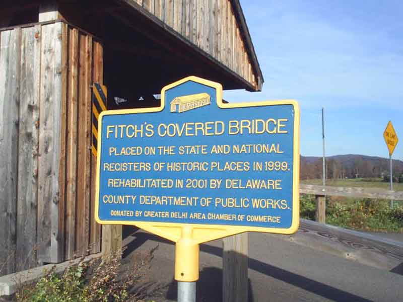 Historic Places sign for Fitch's Covered Bridge in Delhi NY
