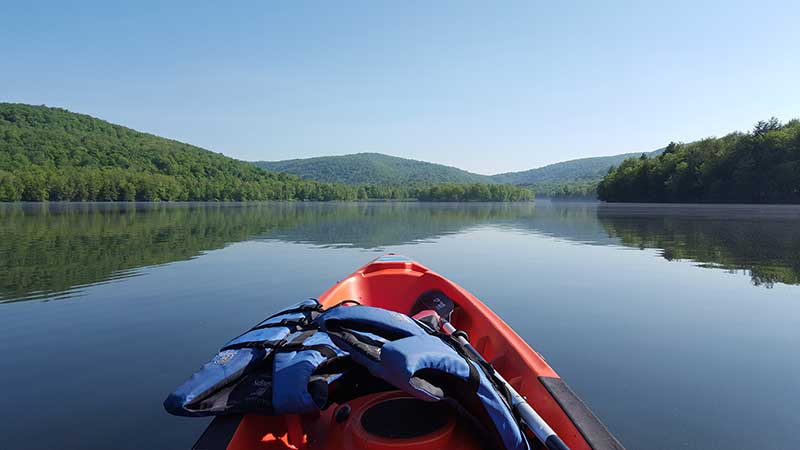 Kayak on Mongaup Pond in New York's Catskill Mountains