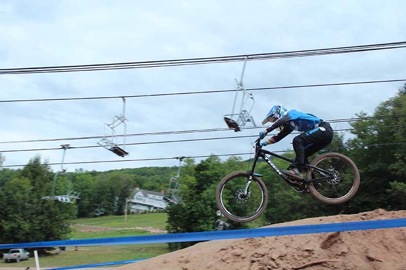 Mountain biker racing on Windham Mountain