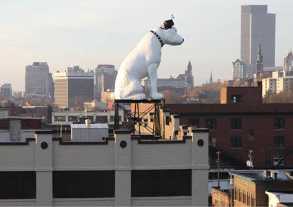 Nipper Statue overlooking Albany with skyline in the background