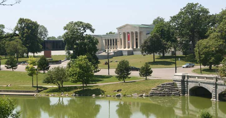 View of the back steps at the Albright Knox Art Gallery in Buffalo's Elmwood Village
