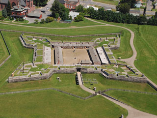 Aerial view of the restored Fort Stanwix