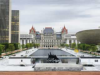 View of NYS Capitol building from Empire State Plaza
