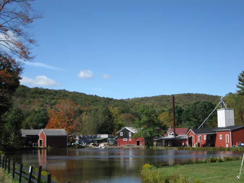 The pond and farm at Hanford Mills Museum