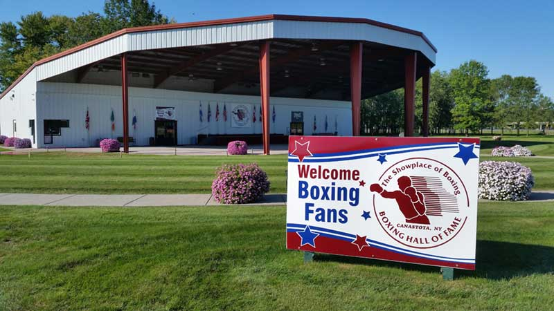 Sign in front of the Boxing Hall of Fame
