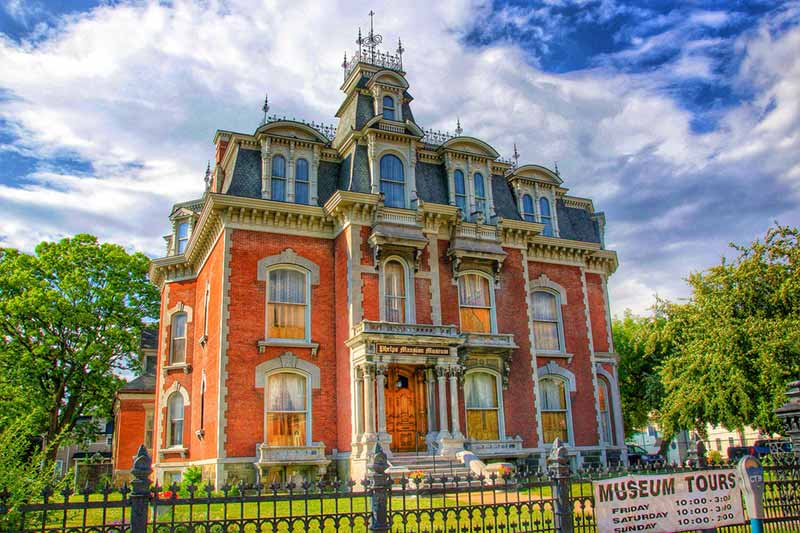 Phelps Mansion in Binghamton NY seen from the sidewalk