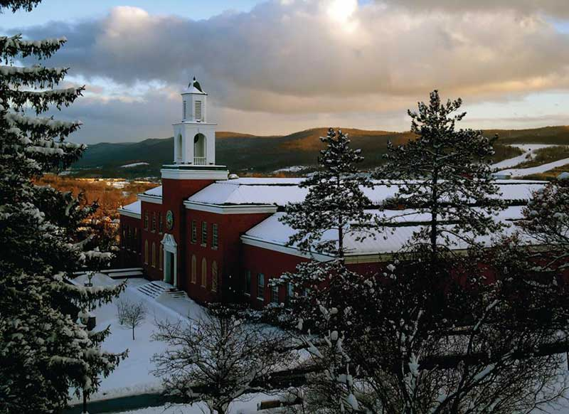 Yager Hall at Hartwick College in the Winter