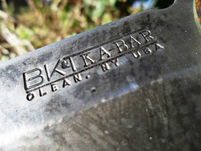 Close up of origin stamp on a Ka-Bar Knife