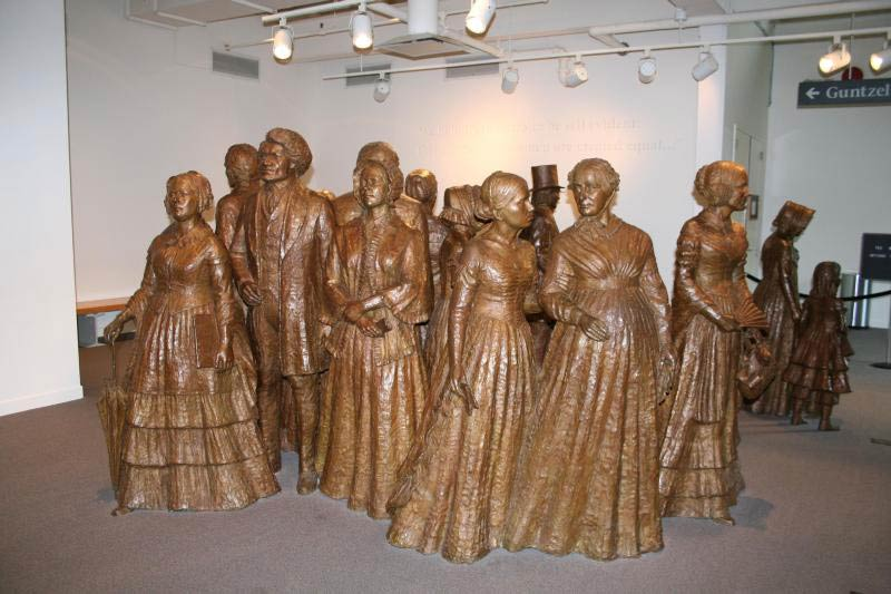 The First Wave statue at the Women's rights National Historic Park
