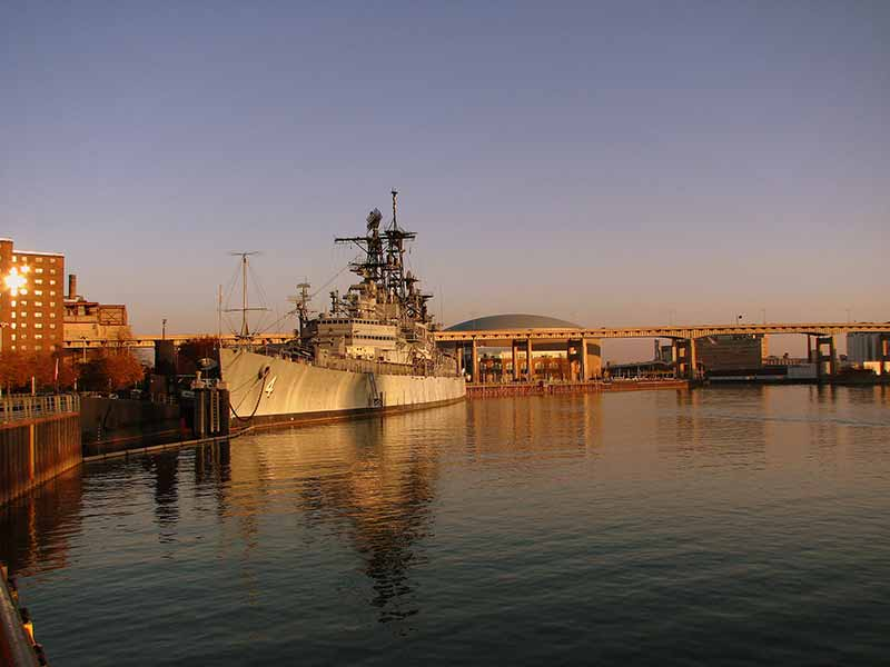Decommissoned USS Little Rock at the Buffalo & Erie County Naval & Military Park at sunset