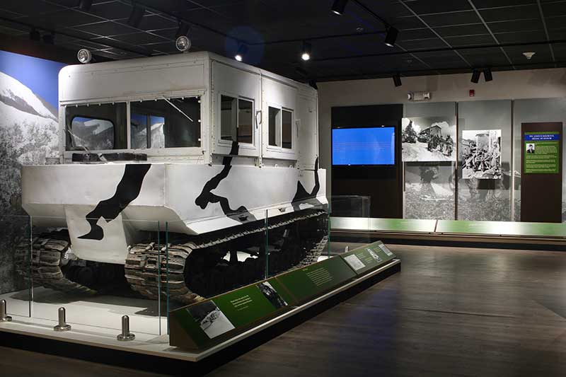 Snow vehicle on display at the Fort Drum Museum