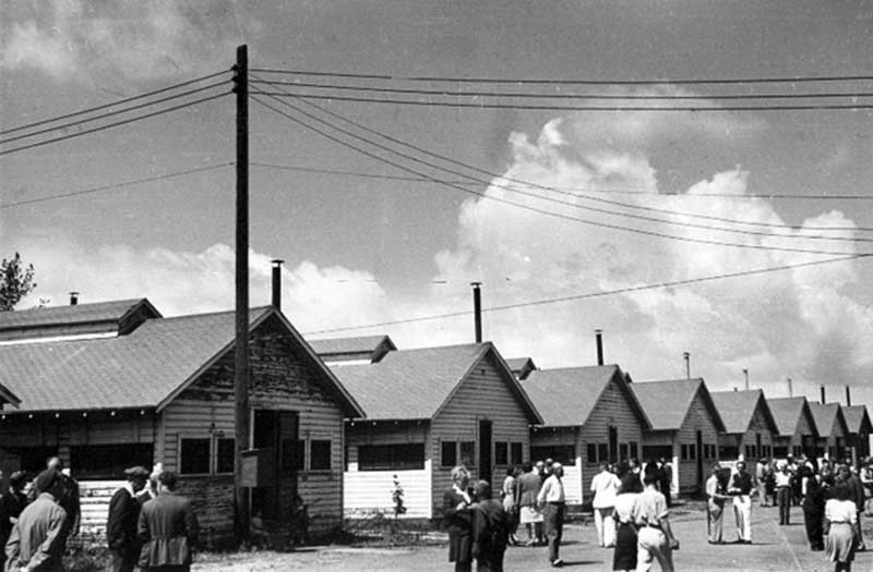 Historic photo of the Holocaust survivors barracks at Fort Ontario