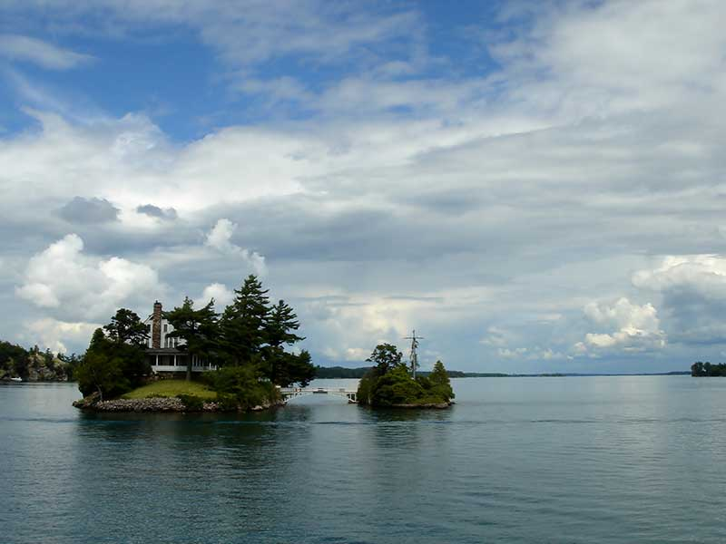 Home built on a small island in the Thousand Islands