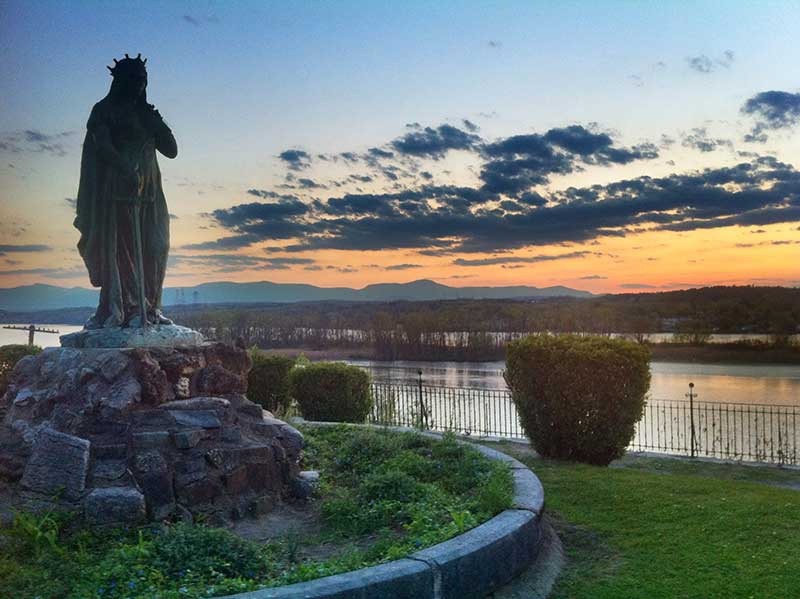 Saint Winifred statue on Promenade Hill in Hudson NY