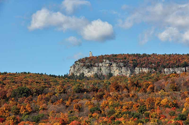 View of Mohonk Mountain's fall foliage
