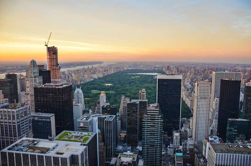 View from Top of the Rock overlooking New York City and Central Park at dusk