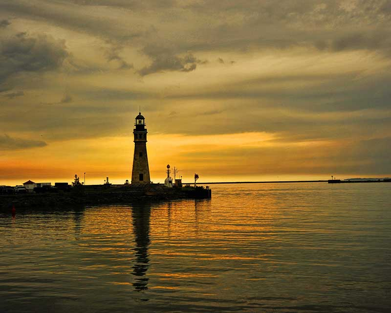 Buffalo Lighthouse on Lake Erie at Sunset