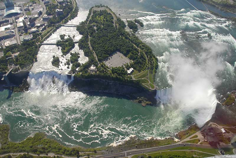 Aerial view of Niagara Falls and Goat Island