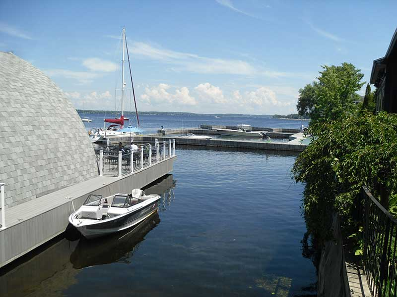 View of a marina on Lake Ontario in Sackets HArbor NY